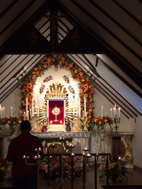 The Forty Hours Devotion in the chapel at Casa Walsingham